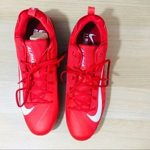 Nike Red Alpha Menace Football Cleats